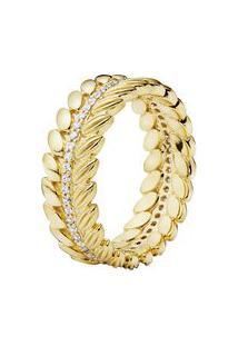 Anel Love Pods Banhado Á Ouro- Dourado- Tamanho 56