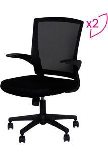 Jogo De Cadeiras Office Swift- Preto & Prateado- 2Pã§Or Design