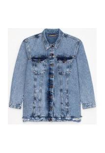 Jaqueta Jeans Alongada Marmorizada Com Puídos Curve & Plus Size | Ashua Curve E Plus Size | Azul | G