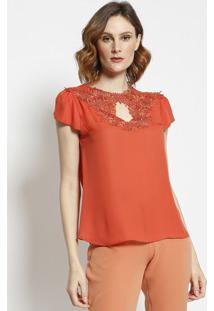 Blusa Com Detalhe Em Renda- Vermelha- Milioremiliore