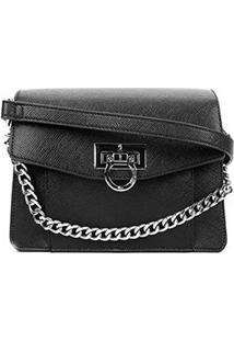 Bolsa Santa Lolla Mini Bag Risco Alça Corrente Feminina - Feminino-Preto