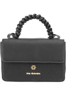 Bolsa Transversal Com Tag Da Marca- Preta & Dourada-Ana Hickmann