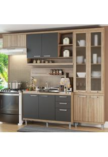Cozinha Compacta 9 Portas 3 Gavetas Sicilia 5816 Argila/Grafite Premium - Multimóveis
