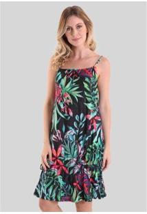 Vestido Com Ajuste Na Barra Oceano Infinito Feminino - Feminino-Preto+Verde