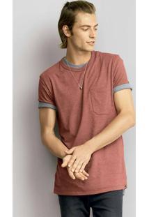 Camiseta Masculina Regular Em Malha De Algodão Alongada Com Bolso