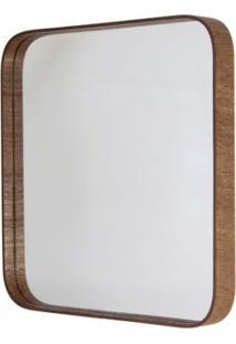 Espelho Formacril Quadrado Com Moldura De Madeira A: 50 Cm X C: 50 Cm Imbuia