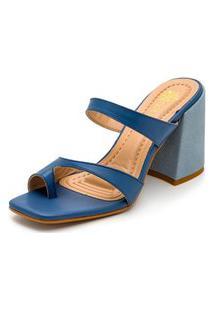 Sandália Feminina Salto Alto Bico Quadrado Em Napa Azul Jeans
