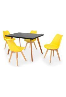 Conjunto Mesa De Jantar Gih 120X80Cm Preta Com 4 Cadeiras Leda - Amarelo