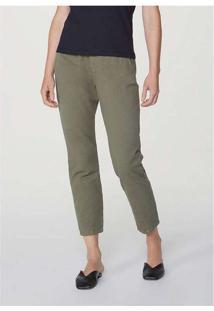 Calça Feminina Slouchy Em Jeans De Algodão Verde