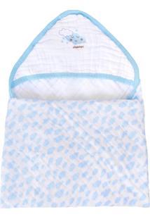 Toalha Banho Soft Minasrey Bordada Alvinha Com Capuz Azul - Kanui