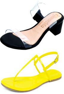 Kit Sandália Tamanco Salto E Rasteira Mercedita Shoes Cristal Com Preto E Verniz Amarelo Neon