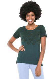 Blusa Maria Filó Cacau Textura Verde