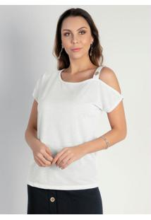 Blusa Branca Assimétrica Moda Evangélica