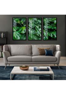 Quadro 100X180Cm Composição Folhagens Naturais Verde Moldura Preta E Vidro