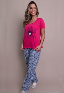 Pijama Bella Fiore Modas Longo Alice Pink - Kanui