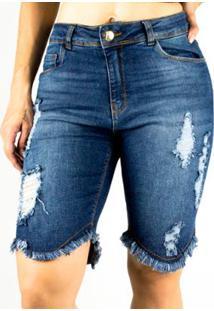 Bermuda Sol Jeans Pluz Size Rasgado Com Lycra 797 - Feminino-Azul