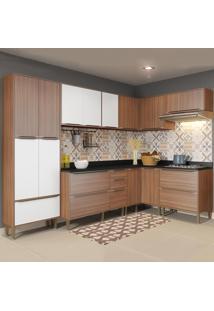 Cozinha Compacta 16 Portas Com Pés 5462 Nogueira/Branco - Multimóveis