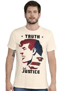 Camiseta Bandup! Superman Truth And Justice - Masculino-Off White