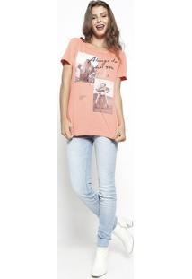 Camiseta Com Inscrições Metalizadas - Laranja & Preta