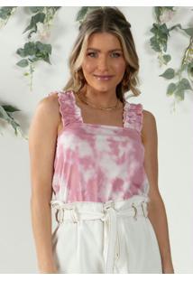 Blusa De Alças Largas Com Babados Tie Dye Rosa