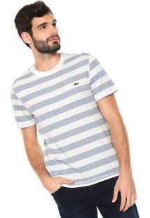 Camiseta Lacoste Reta Listras Off-White/Azul
