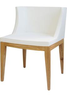 Cadeira Senhorita Base Madeira Or-1136 – Or Design - Branco / Madeira Clara