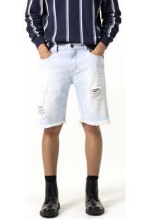 Bermuda Jeans Básica Com Puídos