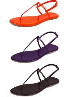 Kit 3 Pares Sandália Flat Rasteira Mercedita Shoes Laranja/Uva/Marrom