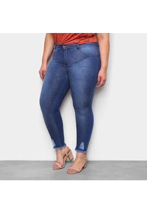 Calça Jeans Plus Size Biotipo Puídos Barra Feminina - Feminino-Azul