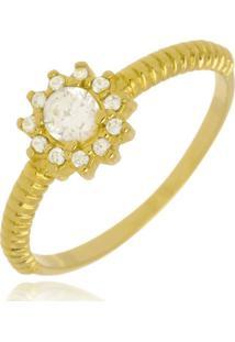 Anel Florzinha De Cristal Di Capri Semi Jóias X Ouro Incolor - Kanui