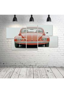Quadro Decorativo - Volkswagem-Beetle-Car-Classic-Retro-Pop - Composto De 5 Quadros - Multicolorido - Dafiti