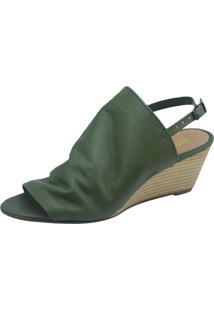 Sandália Anabela S2 Shoes Couro Verde Oliva
