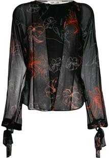 Diane Von Furstenberg Blusa De Seda Com Bordado Floral - Preto