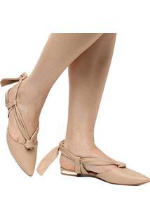 Sapatilha Couro Shoestock Bico Fino Lace Up Feminina - Feminino-Bege