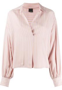 Pinko Blusa Com Estampa Listrada - Rosa