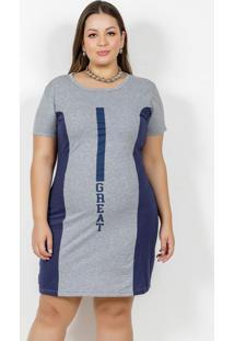 Vestido Marinho E Mescla Com Recortes Plus Size
