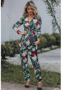 Macacão Longo Viscolycra Estampa Floral Verde