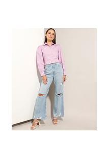 """Calça Jeans """"Juliette"""" Wide Pantalona Cintura Super Alta Destroyed Azul Claro"""