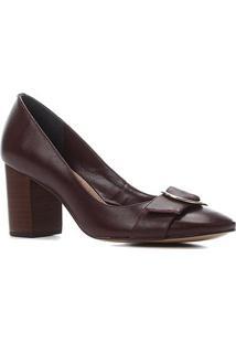 Scarpin Couro Shoestock Salto Alto Bico Redondo Fivela Metal - Feminino-Vinho