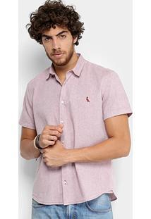 Camisa Reserva Manga Curta Regular Oxford Masculina - Masculino-Bordô
