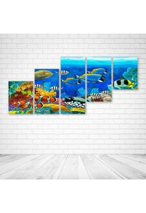 Quadro Decorativo - Sea Seabed Fish Corals Underwater Ocean - Composto De 5 Quadros