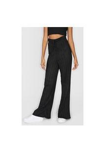 Calça Tricot Fiveblu Pantalona Amarração Preta