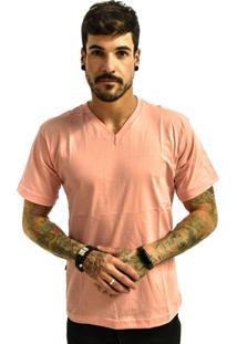 Camiseta Rich Young Gola V Básica Lisa Rosa Claro