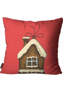 Capas Para Almofada Premium Cetim Mdecore Natal Casa Vermelha 45X45Cm