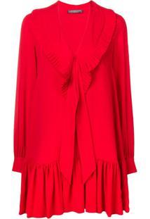 Alexander Mcqueen Vestido Com Babado - Vermelho