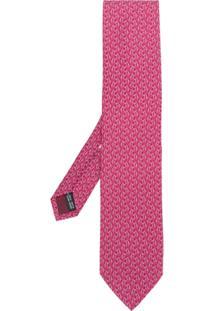 Salvatore Ferragamo Gravata Estampada Em Seda - Pink & Purple