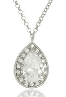 Colar Le Diamond Gota Cristal E Zircônias Prata - Tricae