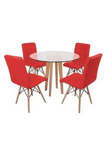 Conjunto Mesa De Jantar Em Vidro 90Cm Com Base Vértice + 4 Cadeiras Gomos - Vermelho