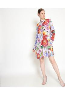 Vestido Floral Com Cinto - Lilás & Azul - Ahaaha