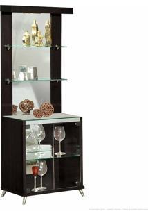 Cristaleira 2 Portas De Vidro Com Espelho, Led E Pés Palito Diamante 100% Mdf Tabaco - Móveis Forini